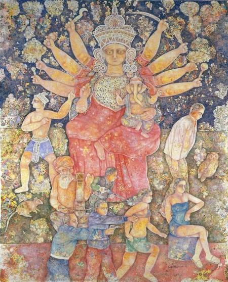 Sakti Burman, 'Divine Delight and Now', 2011, oil on canvas, 162x130cm