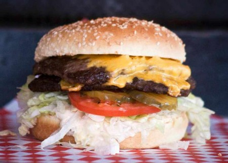 The Big Boom burger at Boomer's Drive-In | Courtesy of Boomer's Drive-In