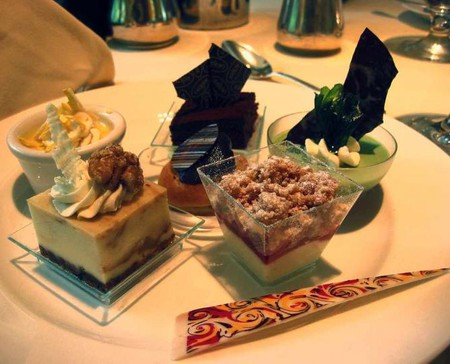 An elegant plate of top tier desserts at Lacroix at the Rittenhouse during Sunday brunch.