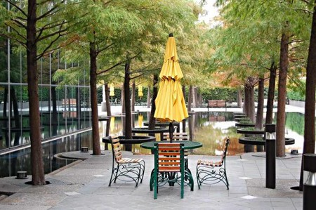 Located in one of Dallas' parks, the outdoor picnic area reflects many of the outdoor patios and lunch spots across the city's parks and restaurants.