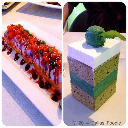 A side by side shot of a specialty sushi roll and the green tea ice cream cake at Asian Mint.