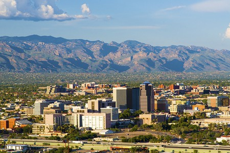 """Tucson, Arizona from  viewed from """"A"""" Mountain (Sentinel Peak) 