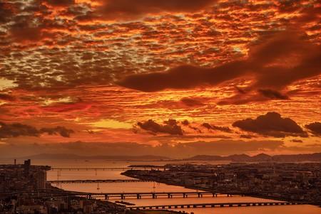 Sunset over Osaka | © Pedro Szekely/Flickr