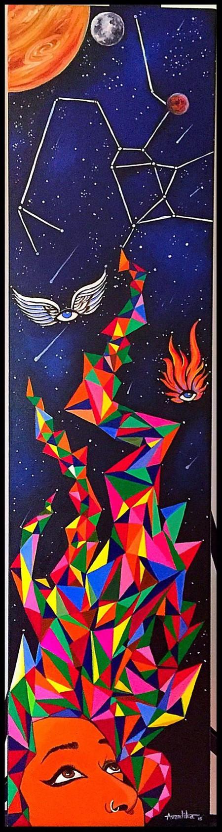 'Searching for my destiny in the stars'. Acrylic on canvas. Astrology series   Courtesy Avantika Mathur