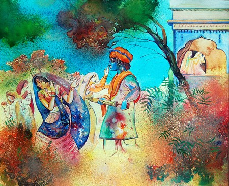 A Beautiful Painiting Depicting Holi Being Played Between Radha and Krishna (C) Biswajit Das