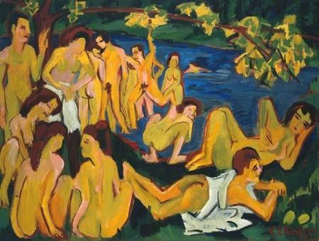 Bathers at Moritzburg (Badende Moritzburg) by Ernst Ludwig Kirchner (1880–1938) | ©  Tate / Art UK
