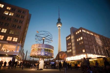 landmarks in alexanderplatz, berlin, the fernsehturm and the  Weltzeituhr world clock