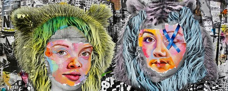 AM DeBrincat, Bear Share (detail), xerox transfer print, acrylic paint, oil paint on canvas | © AM DeBrincat