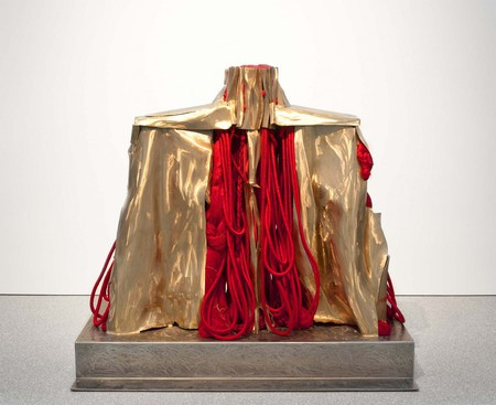 """Barbara Chase-Riboud (b.1939) Mao's Organ, 2007 polished bronze and silk with steel base 64 1/2"""" x 71"""" x 43 1/2"""" 