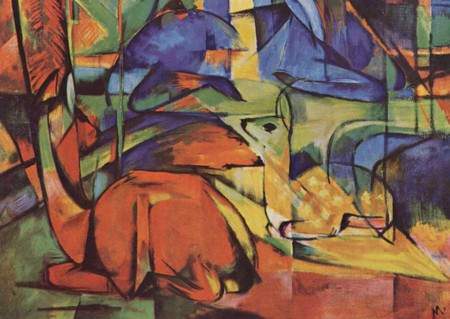 Rehe im Walde (Deer in Woods), 1914, by Franz Marc | © The Yorck Project / WikiCommons