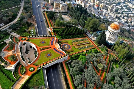 Aerial view of the bridge terrace behind the Shrine of the Báb | Courtesy of Zvi Roger - Haifa Municipality