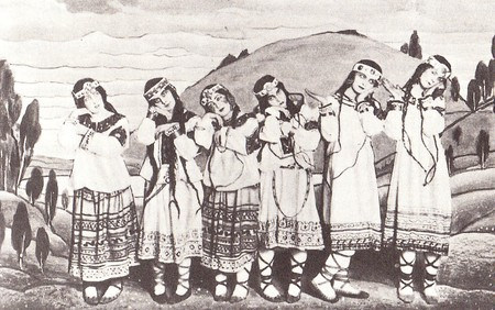 Dancers in Le Sacre du printemps, 1912