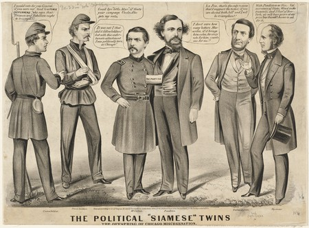 "The political ""Siamese"" twins, the offspring of Chicago miscegenation 