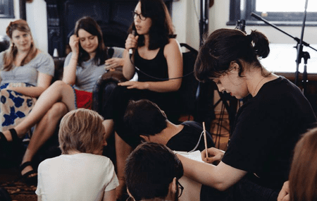 Alexandra taking notes at National Writer's Festival. © Sarah-Jane Edis.