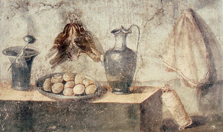 Artist unknown, Still life with eggs, birds and bronze dishes, from the House of Julia Felix, Pompeii, 50-79 BCE | © Yann Forget/WikiCommons