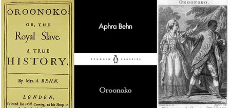 (l-r) The title page of Oroonoko's first edition, the latest Penguin Little Black Classics edition, and a handout at the 1776 performance of Southerne's theatrical adaptation | Courtesy of Penguin Publishing for the second, public domain for the rest.
