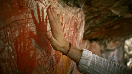 Aboriginal Australia Welcome Film - Davidson's Arnhemland Safaris, Rock Art, Mt Borradaile, NT | Courtesy of Tourism Australia © Warwick Thornton / Brendan Fletcher
