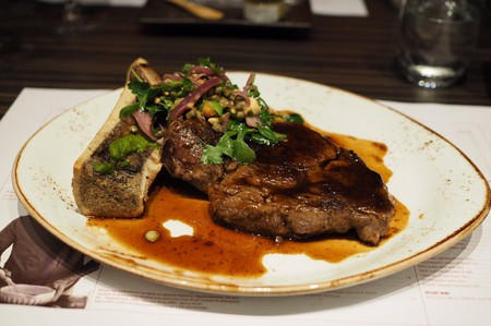Ribeye with roasted bone marrow at Heirloom | © Cathy H./Yelp