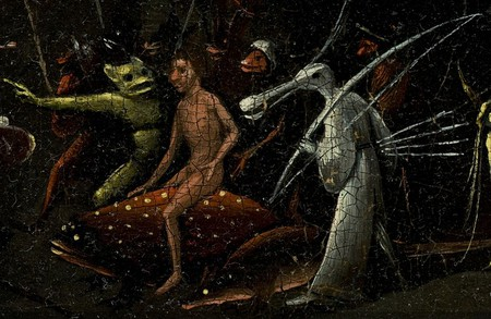 Bosch, Hieronymus - The Garden of Earthly Delights, right panel - man riding on dotted fish and bird creature | © WikiCommons