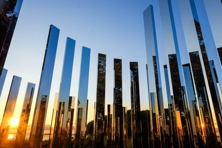 Installation view of Jeppe Hein, A New End, 2016, at World's End in Hingham, MA. Part of the Art and The Landscape series presented by The Trustees of Reservations. Photo by Mark Gardner, Courtesy of The Trustees.