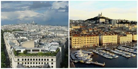 Paris cityscape │© castogatioxes / Marseilles cityscape │© fred2600