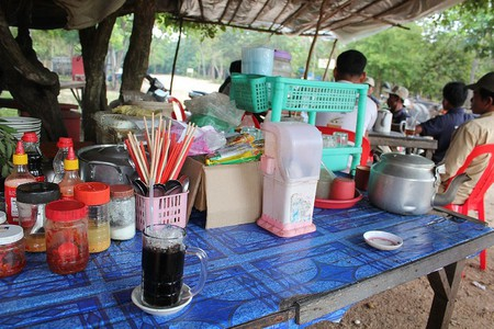 An iced coffee stand. Copyright Pauline Cockrill.