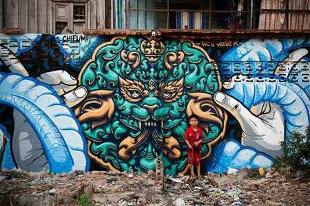 Theo Vallier and Chifumi's work in Phnom Penh  ©  Cambodia Urban Art Festival 2015