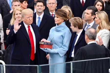 Donald Trump being sworn in before his inauguration speech | © White House photographer/WikiCommons