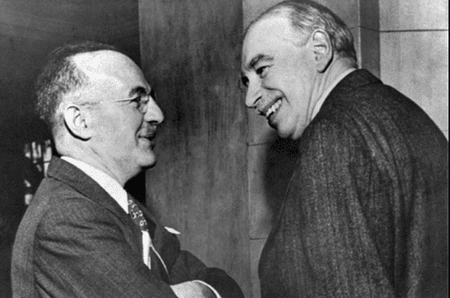 Harry Dexter White (left) and John Maynard Keynes, at the inaugural meeting of the IMF in 1946 | ©IMF/Wikimedia commons