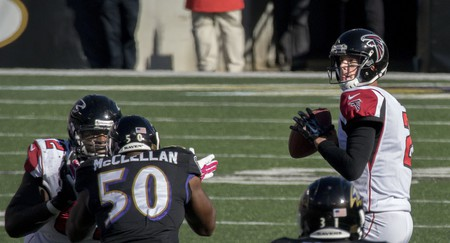 Matt Ryan, pictured above against the Baltimore Ravens, and the Atlanta Falcons lost Super Bowl LI to the New England Patriots | © Flickr/Keith Allison
