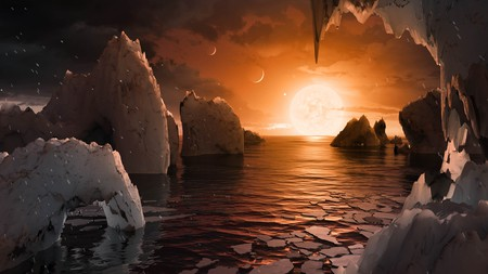 This artist's concept allows us to imagine what it would be like to stand on the surface of the exoplanet TRAPPIST-1f. | Courtesy NASA.