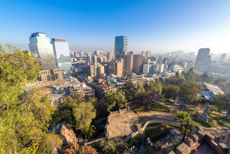 View of the skyline of Santiago, Chile from Cerro Santa Lucia   © Jess Kraft
