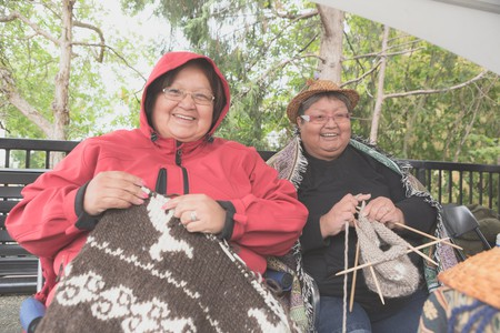 Cowichan Knitters at the 2016 Victoria Aboriginal Cultural Festival | ©Melody Charlie at melodycharlie.com / Courtesy of ATBC Media