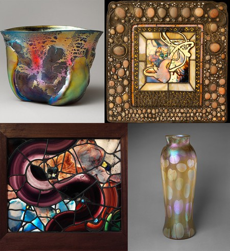 Louis Comfort Tiffany bowls, squash windows, and vase  ca. early 1900s