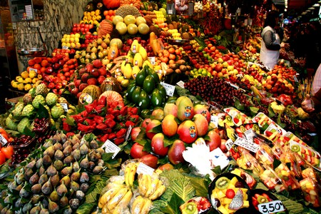 A fruit stall at the Boqueria market
