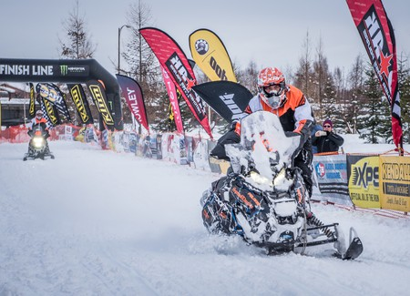 Racers cruise through the finish line at the 2017 Iron Dog in Fairbanks, Alaska   Roger Clifford, Official Iron Dog Photographer