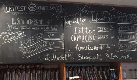 The chalkboard at Lattest Omotesando Espresso Bar | © Alicia Joy