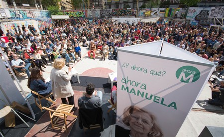 Manuela Carmena addresses a crowd in Madrid |© ahora madrid/Flickr