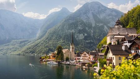 Hallstatt village in High Alps mountains, Austria
