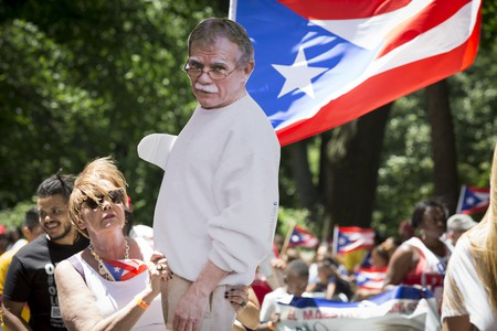 Cut-out of Oscar Lopez Rivera during march | © Glynnis Jones/ Shutterstock