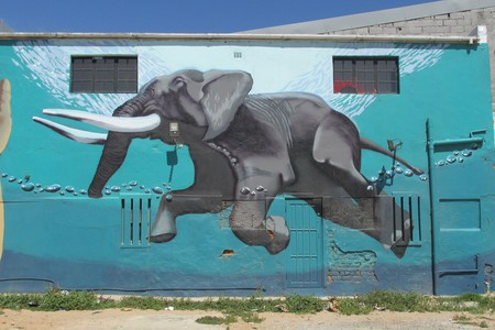 Mural of a swimming elephant in Woodstock, Cape Town | © Lee-Shay Collison
