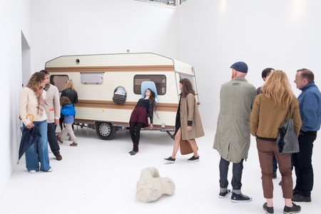 Erwin Wurm, 'Just about Virtues and Vices in General, 2016 – 2017'. Performative one minute sculpture, Austrian Pavilion   Photo: Daniele Nalesso © Bildrecht, Vienna 2017