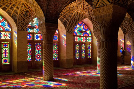 Light streams through the stained glass of Nasir ol-Molk mosque