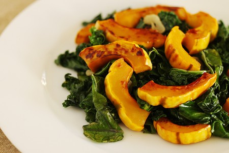 """<a href=""""https://www.flickr.com/photos/notahipster/8304614394"""">Roasted squash with kale 