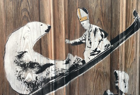 Bambi, Detail of 'The Pope Gives Us Hope', 2017 | © Bambi, courtesy the artist