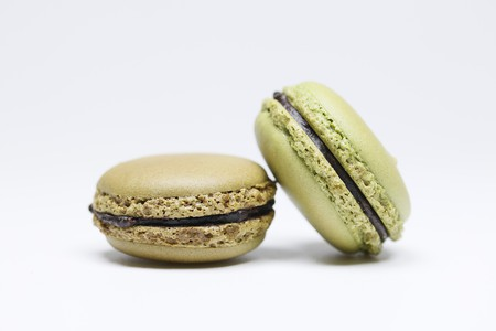 Pistachio and chocolate macarons