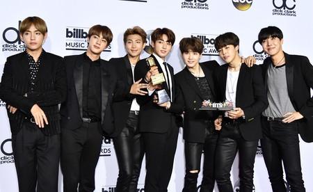 BTS celebrate their win   © REX/Shutterstock
