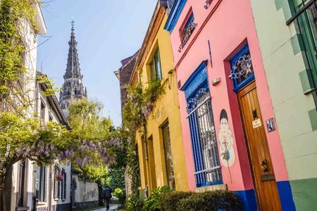 Rue de la Porselein in Brussels in springtime |