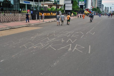 Tape art in the street of Jakarta | © Everyone Sinks Starco/Flickr