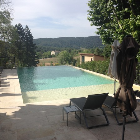 The outside pool at Les Lodges is in the most beautiful location, under the Sainte Victoire mountain